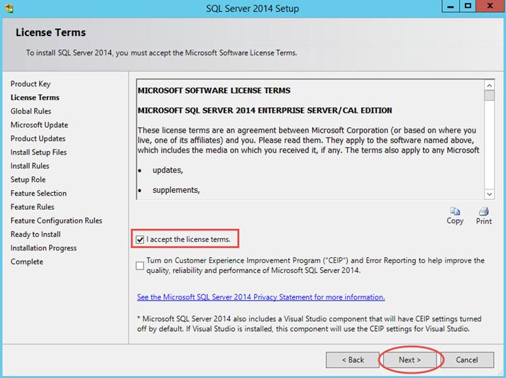 Ilustración 3 – Instalación de SQL Server | Aceptación de Contrato.