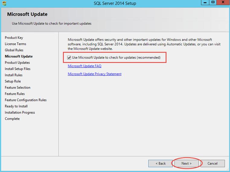 Ilustración 4 – Instalación de SQL Server | Chequeo de actualizaciones de instalador.