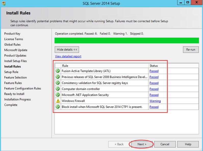 Ilustración 6 – Instalación de SQL Server | Chequeo de reglas de instalación.