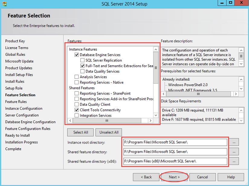 Ilustración 8 – Instalación de SQL Server | Elección de Características y Componentes Compartidos de SQL Server.