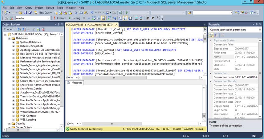 Ilustración 4 – Ejecución del Script que elimina todas las bases de datos de la instancia SQL Server.