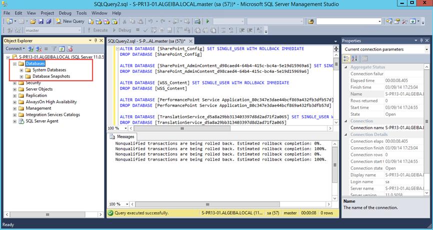 Ilustración 6 – Borrado de Base de Datos SQL Server luego de la ejecución del script.