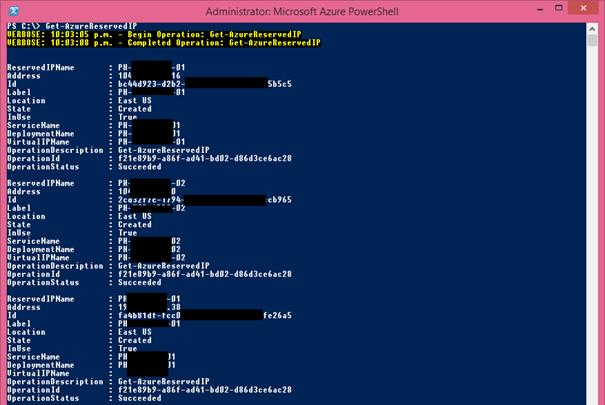 Ilustración 4 – Listado de reservas de IP pública [VIP] en Microsoft Azure a través de PowerShell.