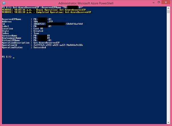 Ilustración 5 –Detalles de una reserva de dirección IP pública [VIP] en Microsoft Azure a través de PowerShell.