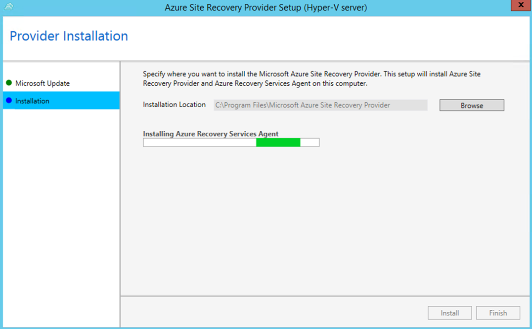 Ilustración 10 – Asistente para instalación del Proveedor de Azure Site Recovery en Hyper-V.