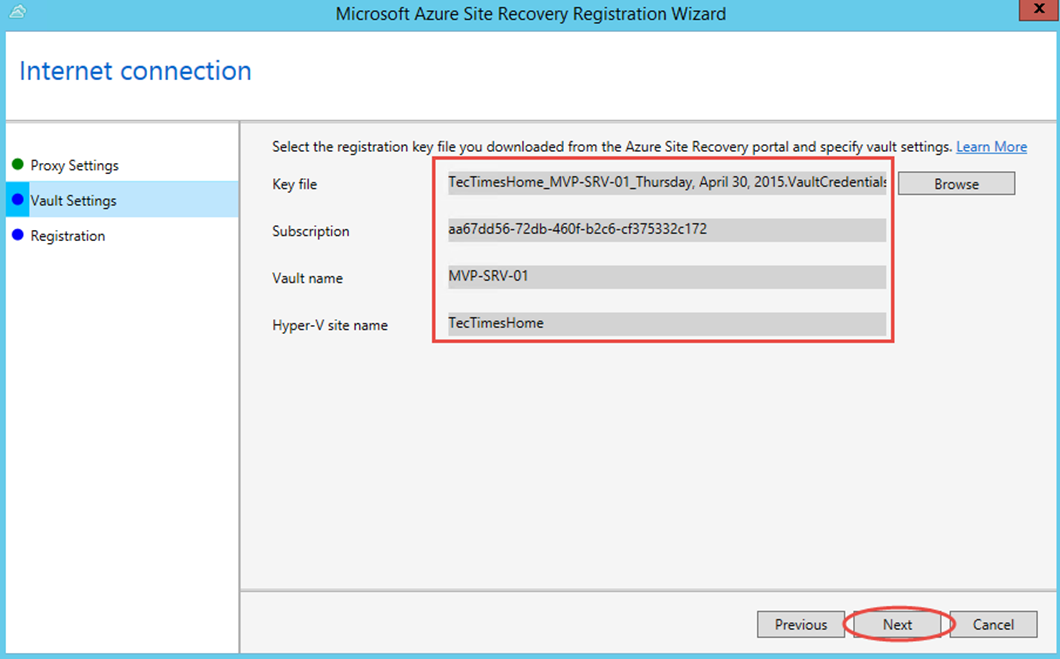 Ilustración 13 – Asistente para instalación del Proveedor de Azure Site Recovery en Hyper-V: registro del Vault.