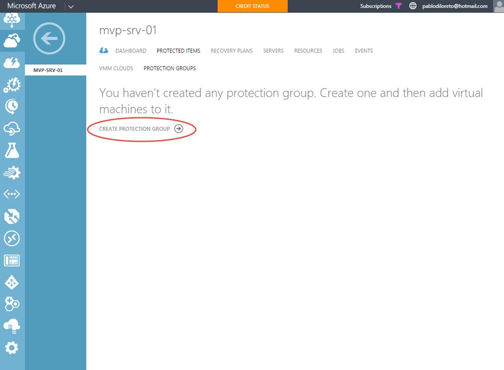 Ilustración 18 – Creación y Configuración de Grupo de Protección en Azure Site Recovery Vault.