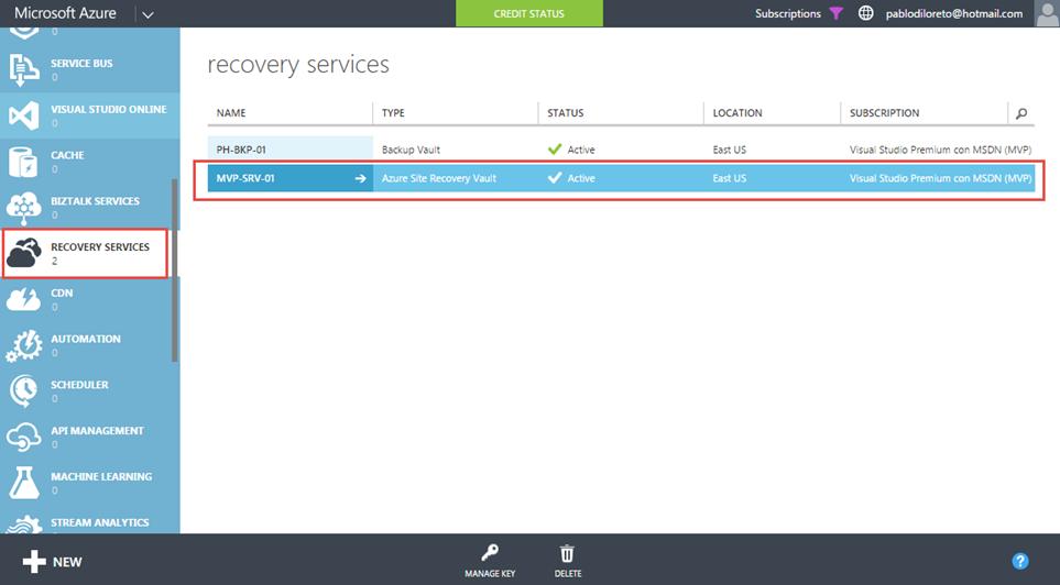 Ilustración 2 – Creación de Site Recovery Vault desde el Panel de Control de Microsoft Azure.