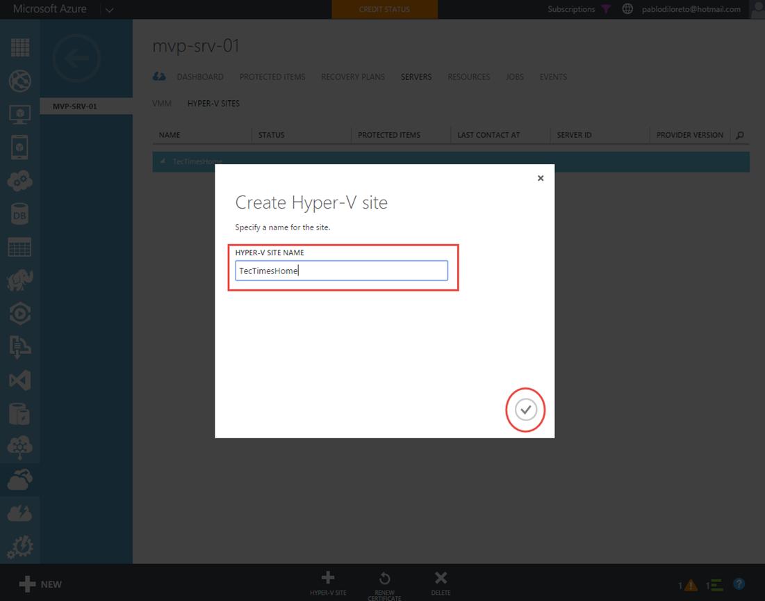 Ilustración 4 – Creación de Sitio Hyper-V en Azure Site Recovery Vault.