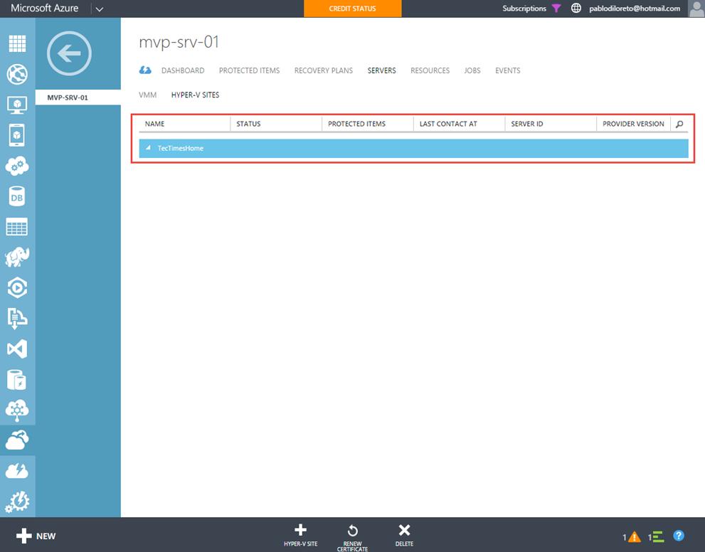 Ilustración 5 –Sitio Hyper-V creado en Azure Site Recovery Vault.