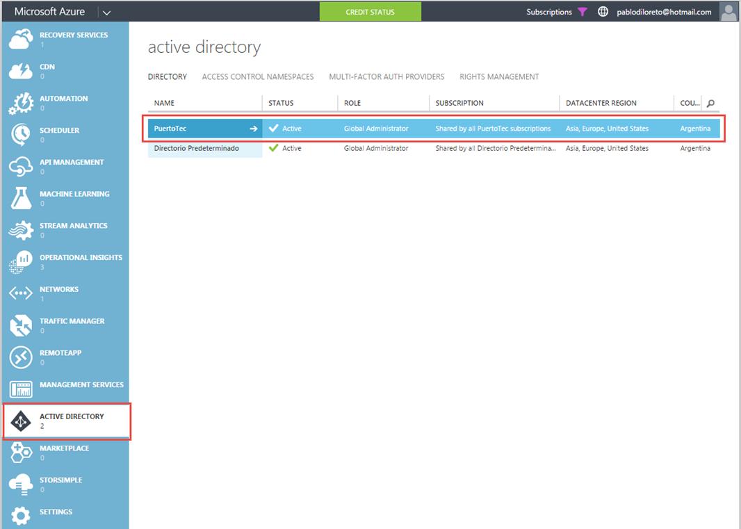 Ilustración 12 – Administración de un Directorio existente en Microsoft Azure en una suscripción nueva y completa de Azure.
