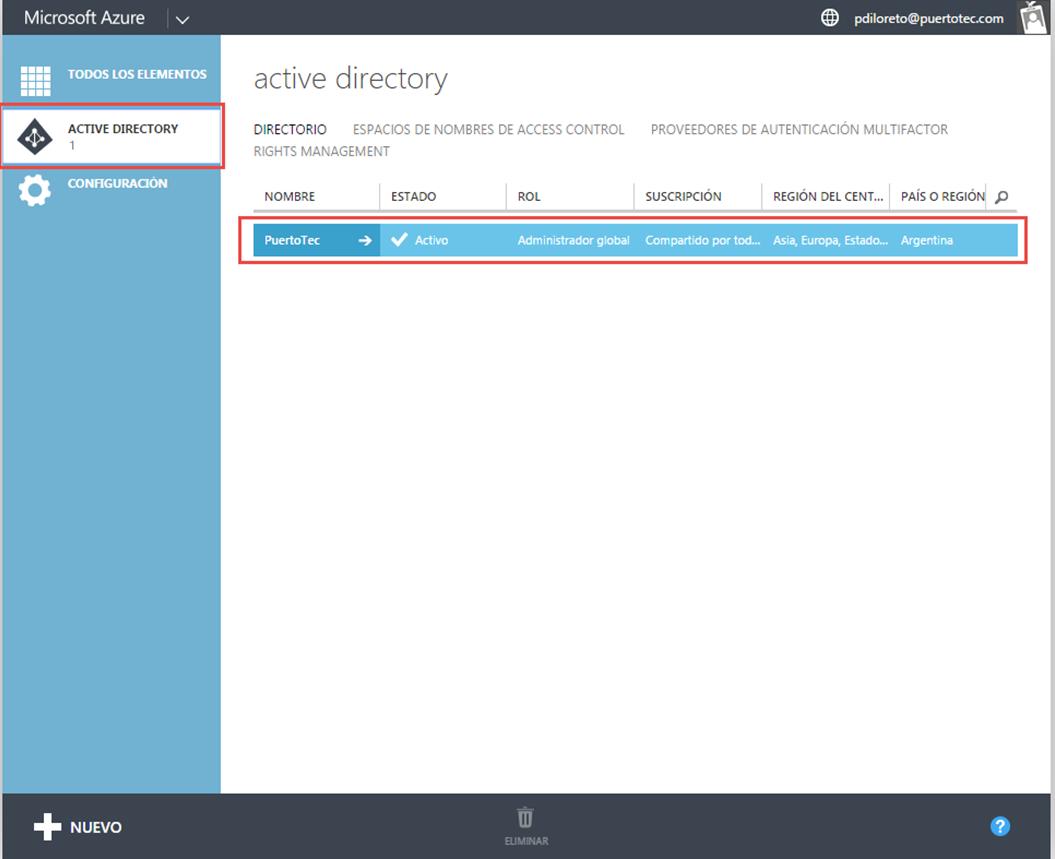 """Ilustración 13 – Administración de un Directorio existente en Microsoft Azure en una suscripción """"Access to Azure Active Directory""""."""