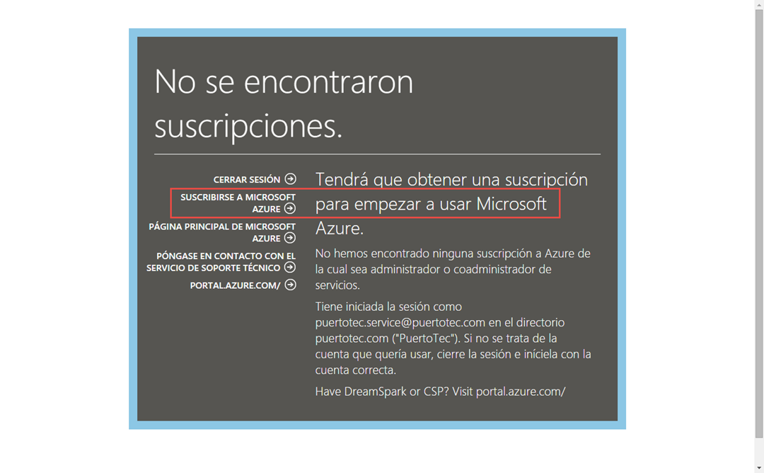 Ilustración 8 – Registro de una nueva suscripción completa de Azure para administrar un Directorio de Office 365: solicitud de nueva suscripción.