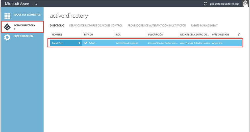 "Ilustración 1 – Acceso a Azure Active Directory desde una suscripción ""Access to Azure Active Directory""."