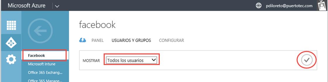 Ilustración 12 – Configurando la publicación de una Aplicación Web de Terceros en Azure Active Directory: Facebook. Asignación a Usuarios.