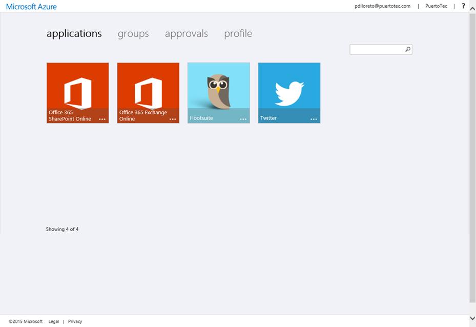Ilustración 17 – Acceso a Aplicaciones Web publicadas desde Azure Active Directory utilizando el portal de Active Directory de Microsoft Azure.