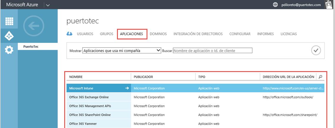 """Ilustración 2 – Acceso a aplicaciones publicadas en Azure Active Directory desde una suscripción """"Access to Azure Active Directory""""."""