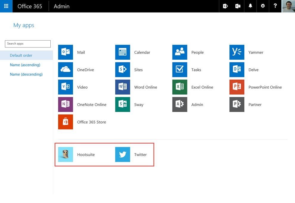 Ilustración 22 – Acceso a Aplicaciones Web publicadas desde Azure Active Directory utilizando el portal de Office 365.