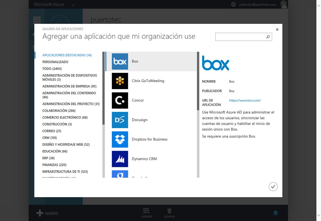 Ilustración 5 – Agregando una Aplicación Web de Terceros a Azure Active Directory.