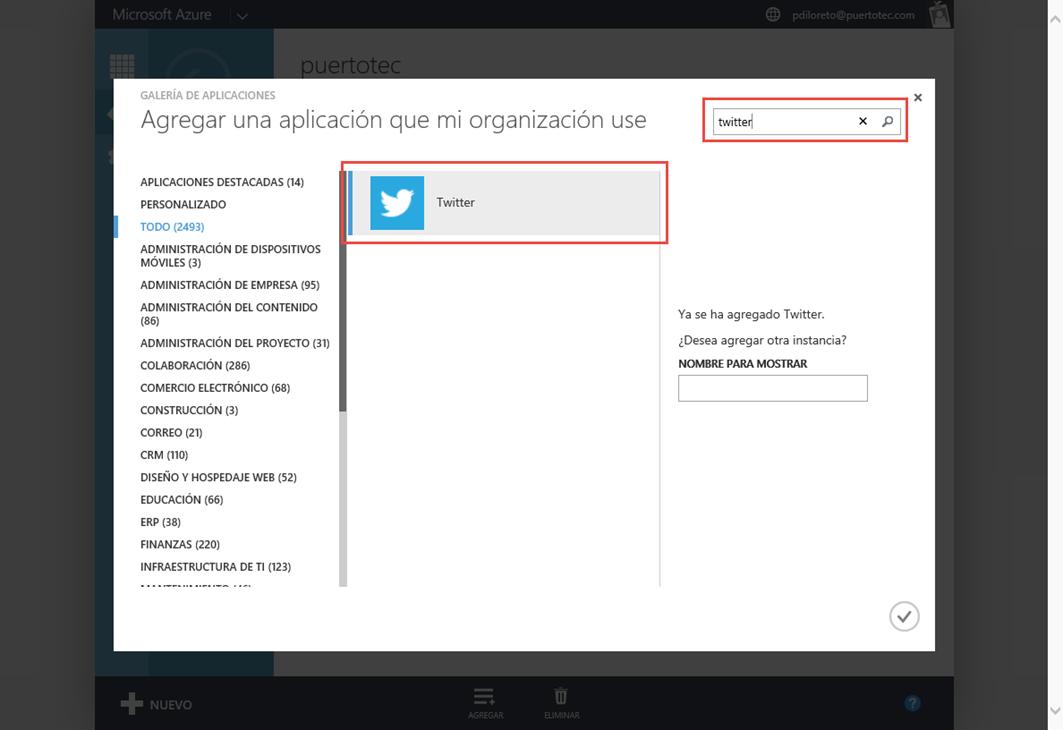 Ilustración 7 – Buscando y agregando una Aplicación Web de Terceros a Azure Active Directory: Twitter.