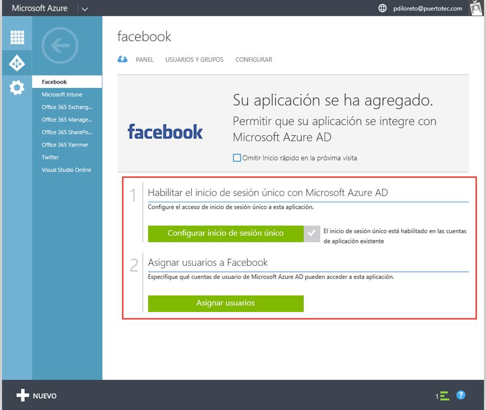 Ilustración 9 – Configurando la publicación de una Aplicación Web de Terceros en Azure Active Directory: Facebook.