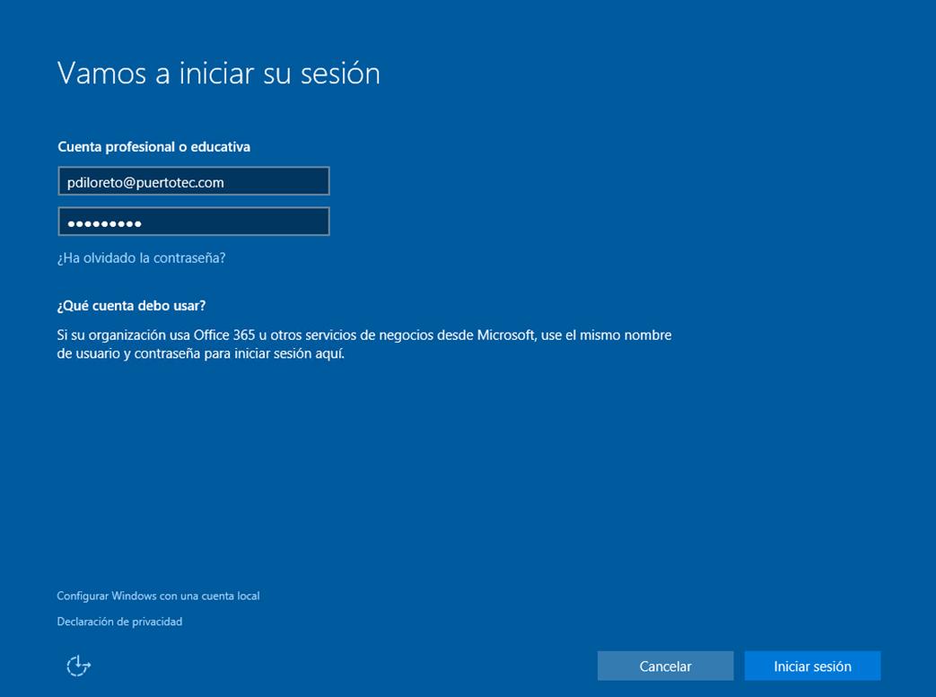 Ilustración 16 – Instalación de Windows 10 Build 10074. OOBE de Windows 10 para Enterprises. Inicio de Sesión con cuenta Office 365 ó Azure Active Directory.