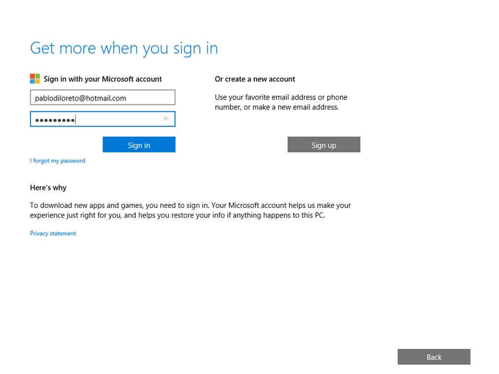 Ilustración 20 – Instalación de Windows 10 Build 10074. OOBE de Windows 10 Professional. Inicio de sesión con cuenta Microsoft.