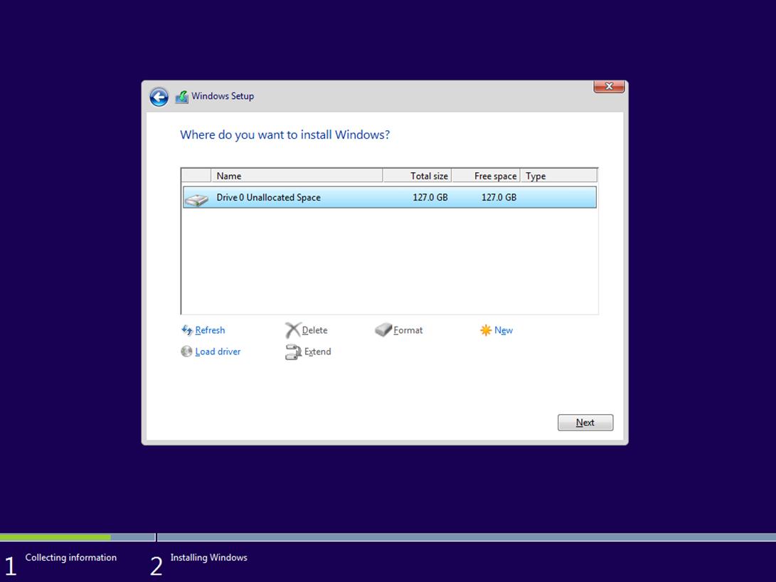 Ilustración 7 – Instalación de Windows 10 Build 10074. Elección de disco de instalación.