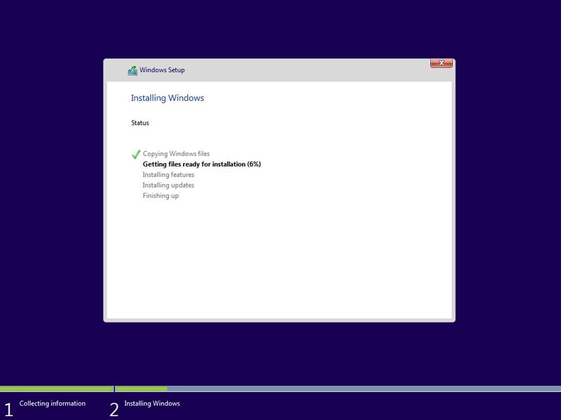 Ilustración 8 – Instalación de Windows 10 Build 10074. Instalación de Windows.