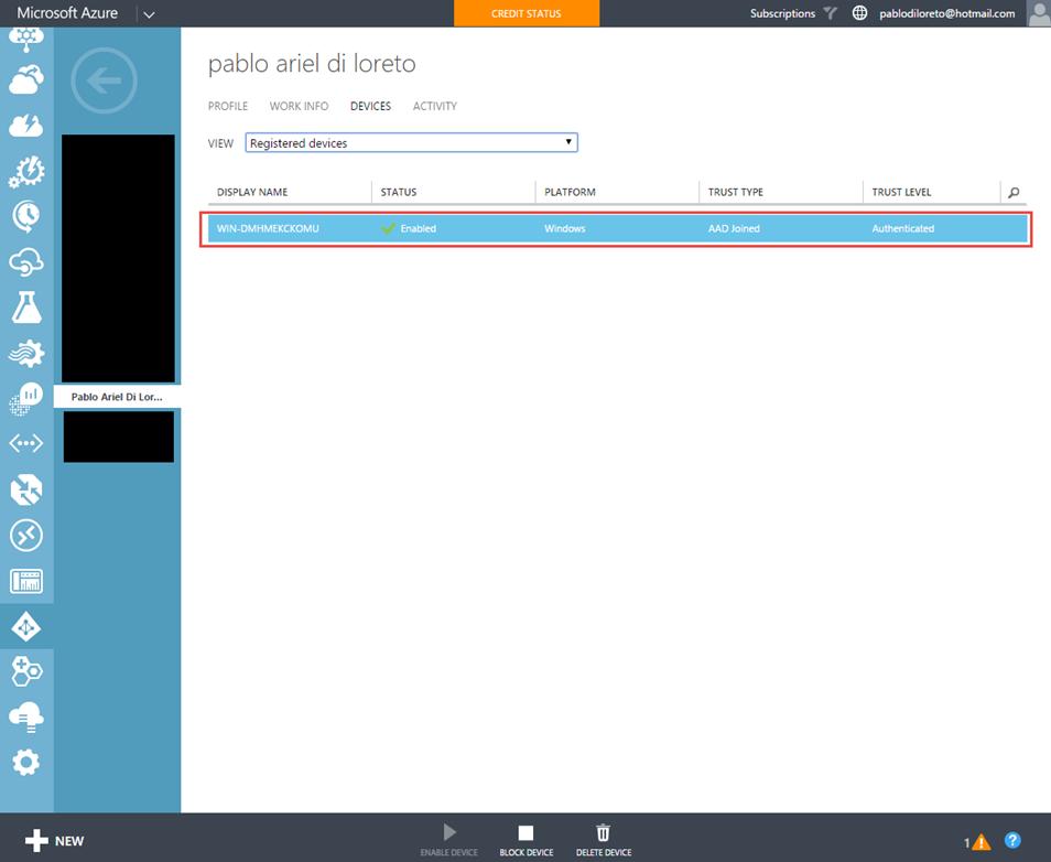 Ilustración 18 – Registro de Dispositivo en Azure Active Directory.