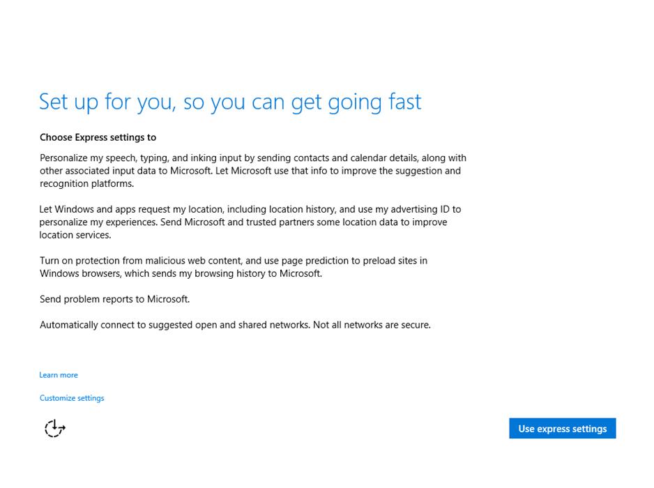 Ilustración 4 – Instalación de Windows 10 Build 10074. OOBE de Windows 10.