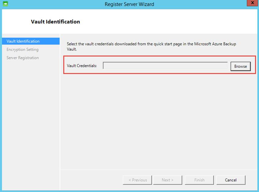 Ilustración 12 – Instalación de Agente de Azure Backup en Windows Server. Configuración de Credenciales de Azure Backup para el Vault.