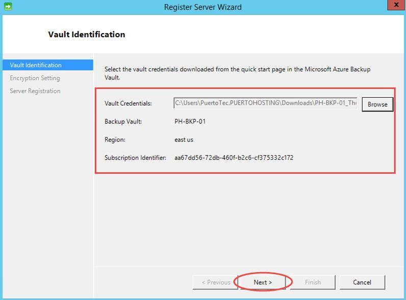 Ilustración 13 – Instalación de Agente de Azure Backup en Windows Server. Configuración de Credenciales de Azure Backup para el Vault.