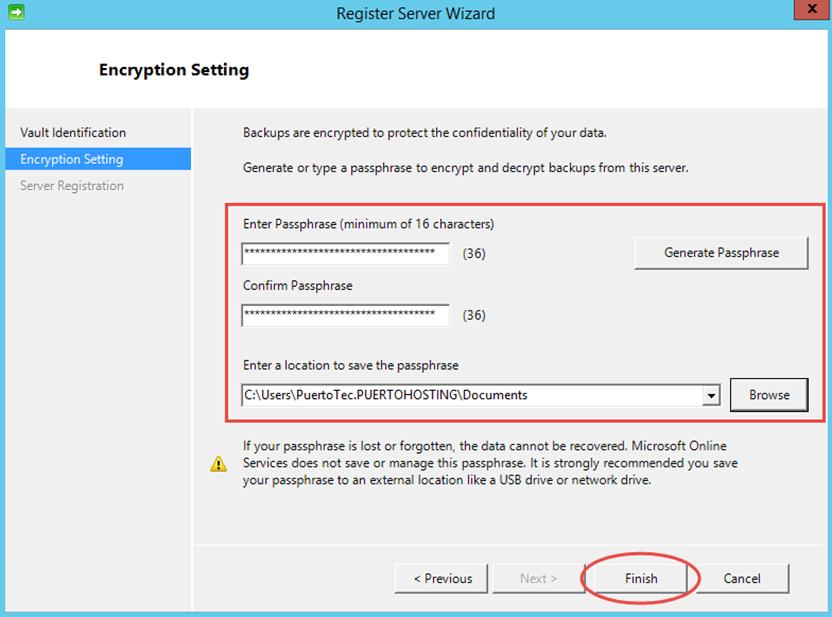 Ilustración 14 – Instalación de Agente de Azure Backup en Windows Server. Configuración de Passphrase.