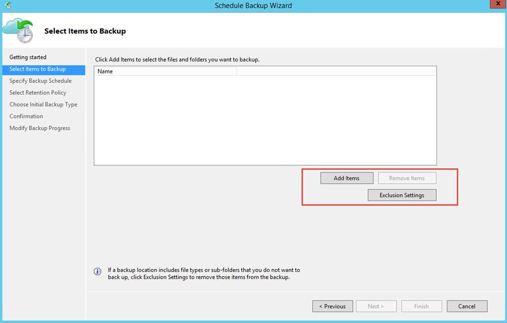 Ilustración 18 – Creación de Tarea de Backup en Azure Backup Agent de Windows Server. Selección de elementos a resguardar.