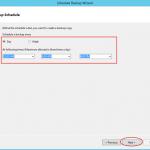 Ilustración 20 – Creación de Tarea de Backup en Azure Backup Agent de Windows Server. Configuración de Periodicidad.