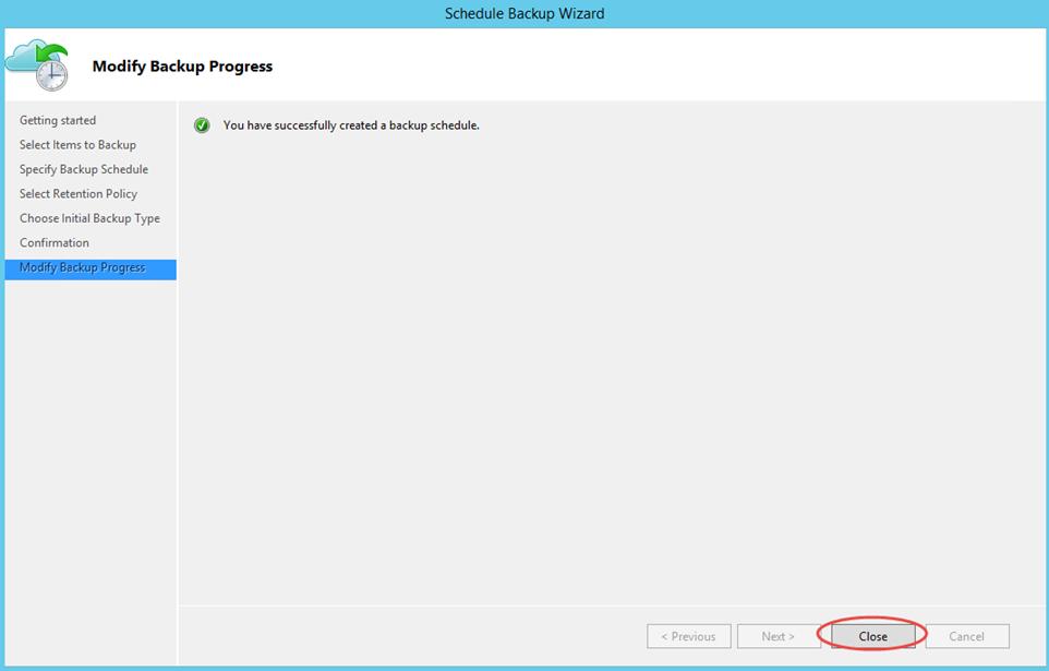 Ilustración 25 – Creación de Tarea de Backup en Azure Backup Agent de Windows Server. Finalización de la tarea.
