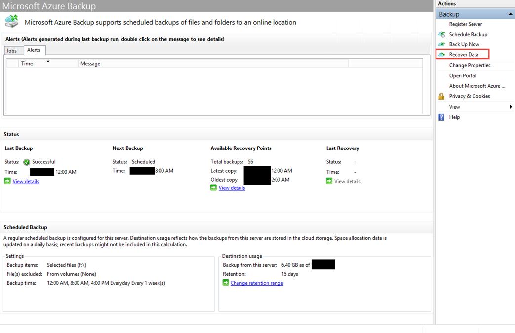 Ilustración 26 – Opción de Recuperación de Backups desde la Consola de Azure Backup en Windows Server.