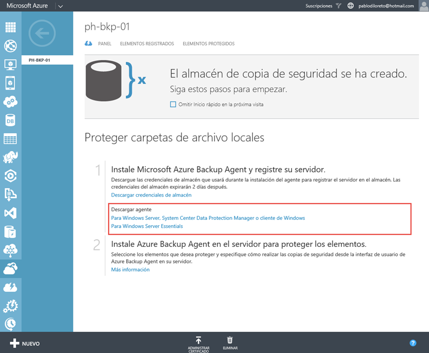 Ilustración 6 – Instalación de Agente de Azure Backup en Windows Server.