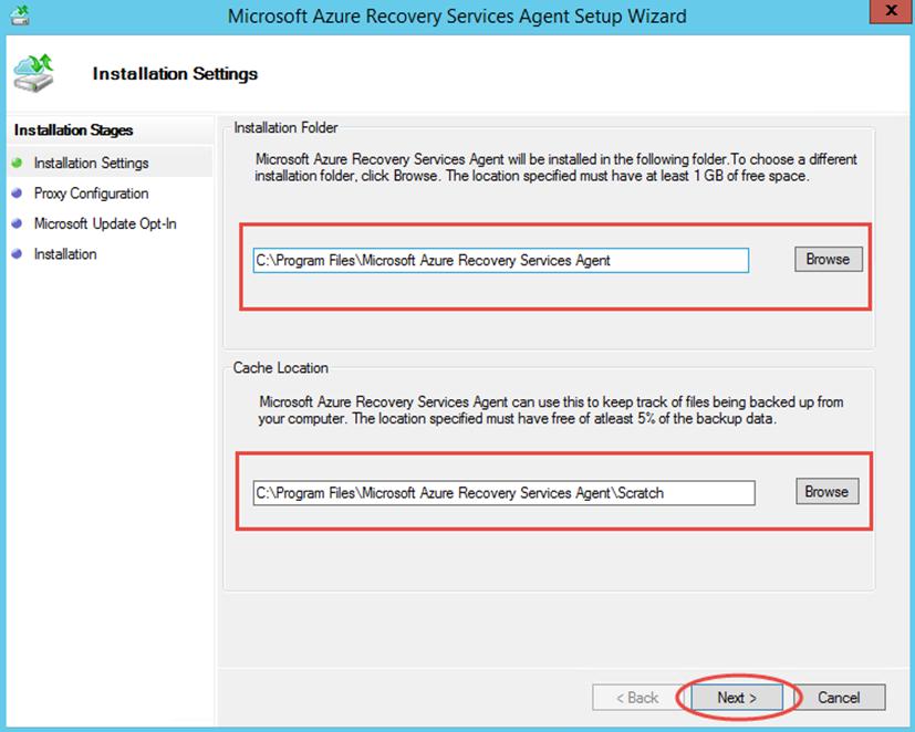 Ilustración 7 – Instalación de Agente de Azure Backup en Windows Server. Opciones de Instalación.