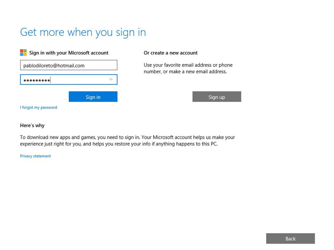 Ilustración 4 – Instalación de Windows 10 Build 10074. OOBE de Windows 10 Professional. Inicio de sesión con cuenta Microsoft.