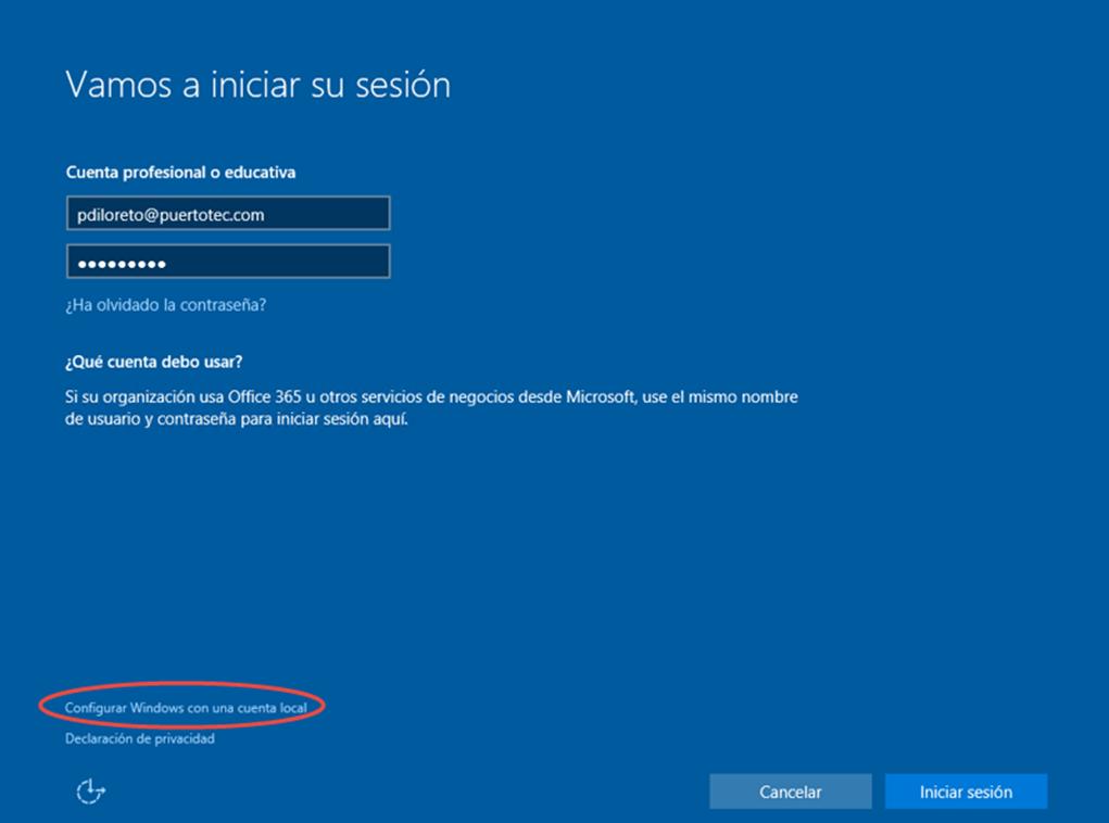 Ilustración 5 – Ilustración 6 – Instalación de Windows 10 Build 10074. OOBE de Windows 10. Creación de una cuenta local.