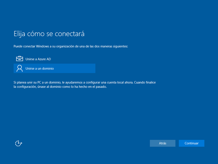 "Ilustración x – Instalación de Windows 10 Build 10130. OOBE de Windows 10 Professional. Elección de ""Unirse a un dominio"" lo que genera un usuario local."