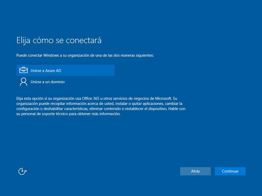 Ilustración 16 – Asistente OOBE de Windows 10. Configuración de un equipo de la organización: unir el equipo a Azure AD.