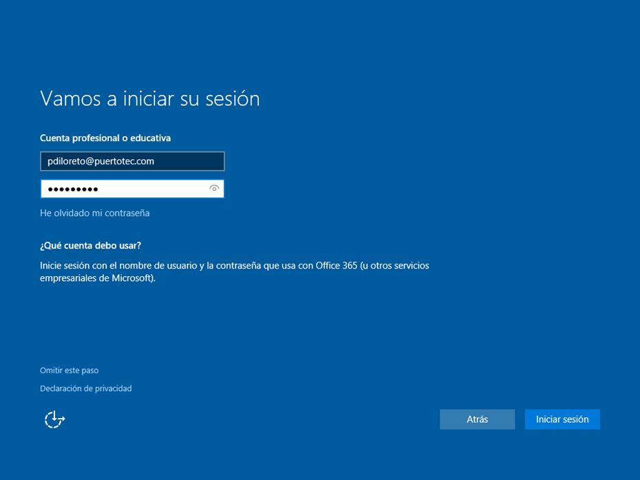 Ilustración 17 – Asistente OOBE de Windows 10. Configuración de un equipo de la organización: unión del equipo a Azure AD.