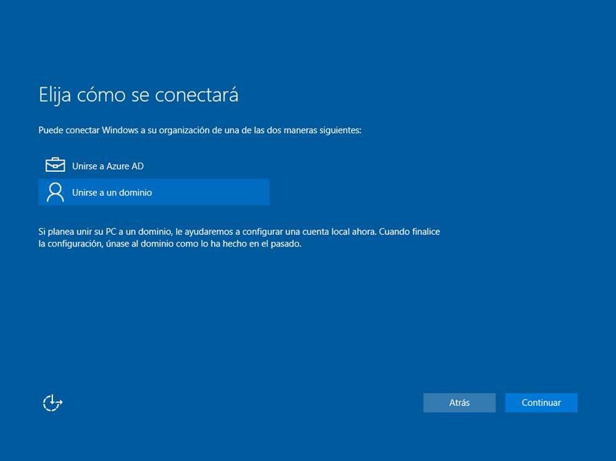 Ilustración 18 – Asistente OOBE de Windows 10. Configuración de un equipo de la organización: unión del equipo a Active Directory Domain Services.