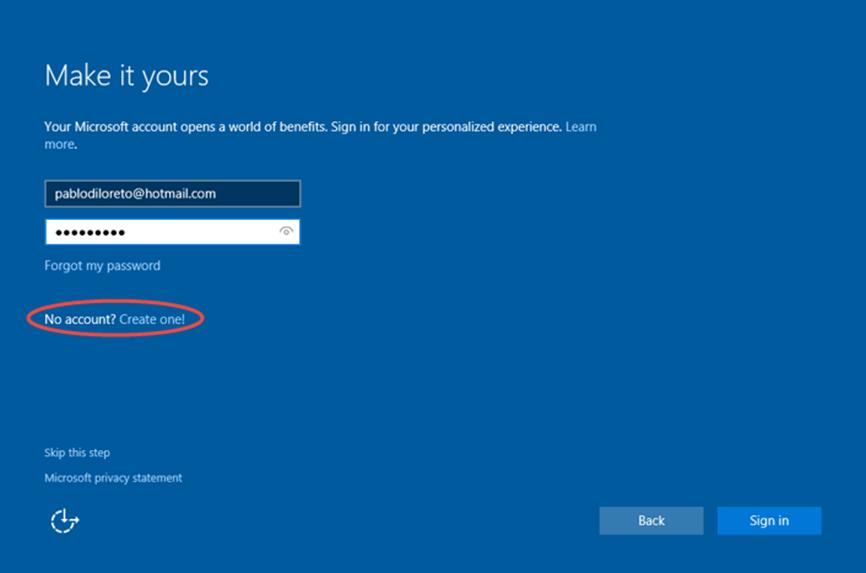 Ilustración 21 – Instalación de Windows 10 Build 10130. OOBE de Windows 10 Professional. Creación de cuenta Microsoft para inicio de sesión.