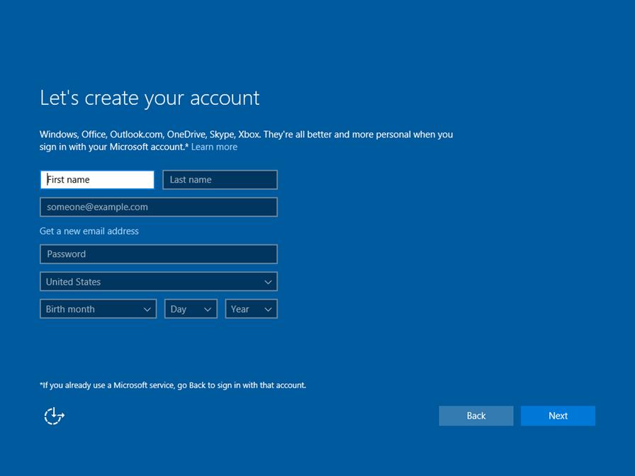 Ilustración 22 – Instalación de Windows 10 Build 10130. OOBE de Windows 10 Professional. Creación de cuenta Microsoft para inicio de sesión.