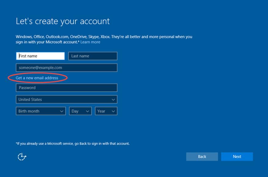 Ilustración 23 – Instalación de Windows 10 Build 10130. OOBE de Windows 10 Professional. Creación de cuenta Microsoft para inicio de sesión.
