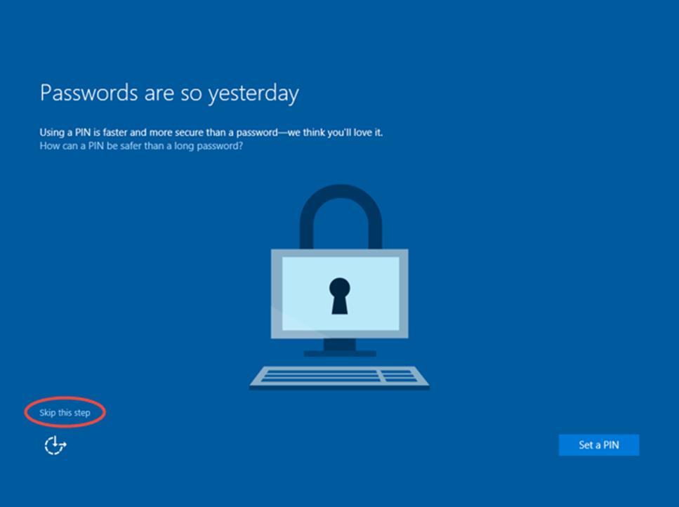 Ilustración 28 – Inicio de Sesión en Windows 10 Build 10130. Configuración de PIN.